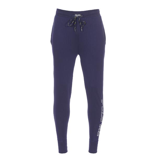 Pantalon de jogging léger  en coton bleu marine floqué
