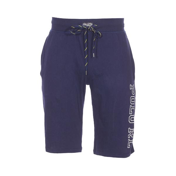 Short de pyjama  en coton bleu marine floqué