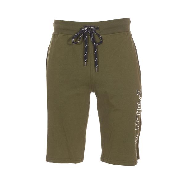 Short de pyjama  en coton vert olive floqué