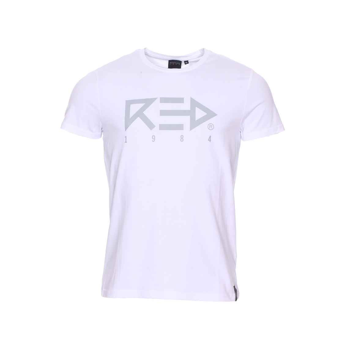 Tee-shirt col rond  arrow en coton stretch blanc floqué
