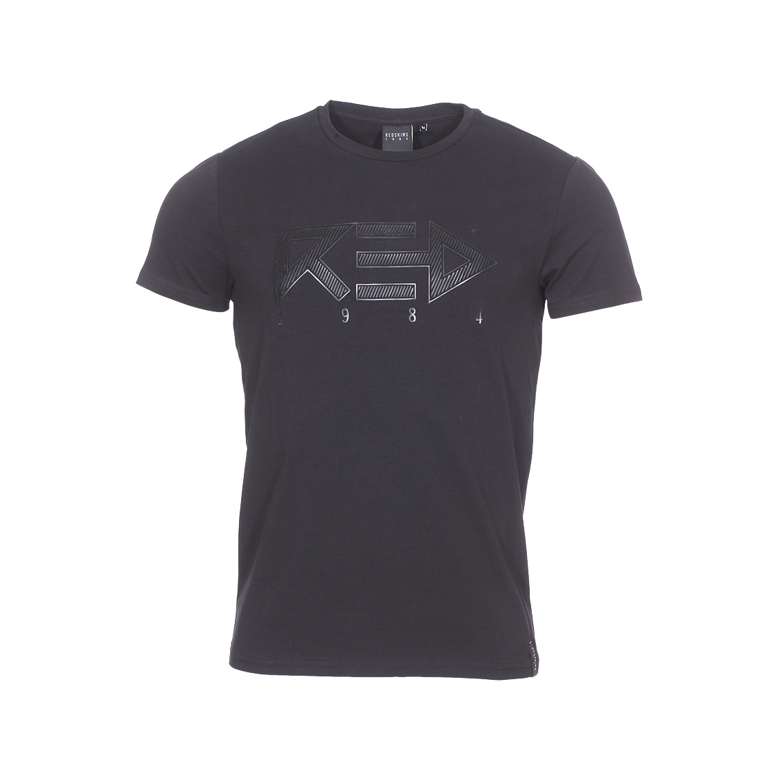 Tee-shirt col rond  blocker en coton stretch noir floqué