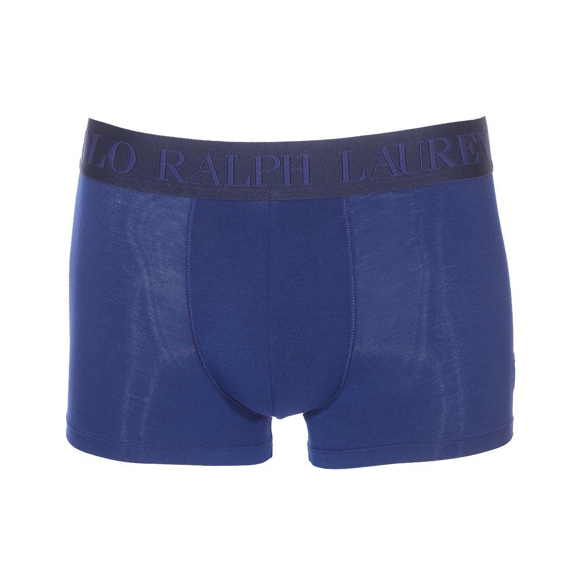 Boxer  en modal stretch bleu pétrole à ceinture bleu marine