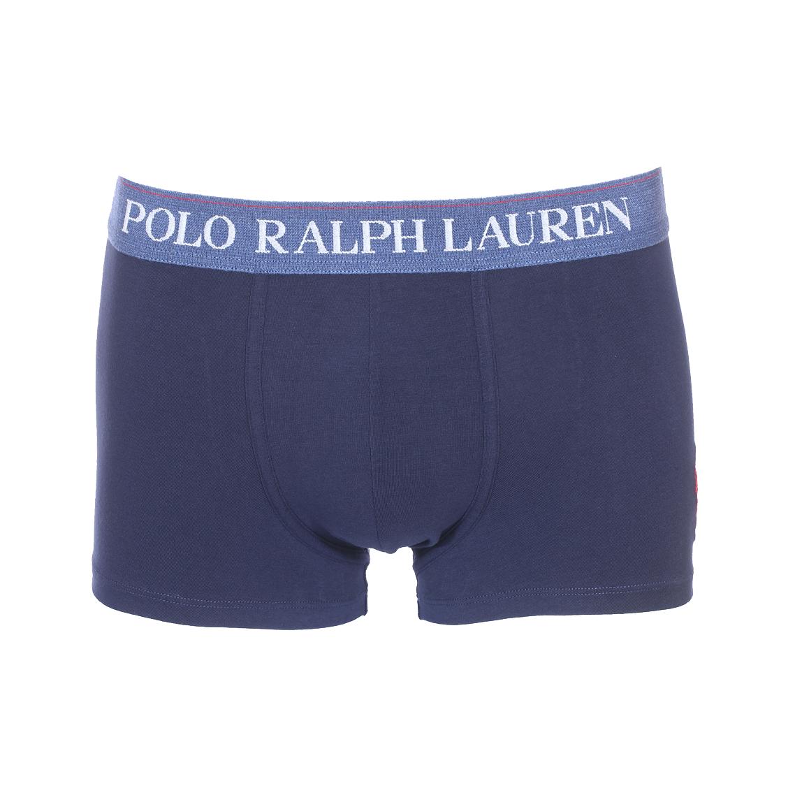 Boxer  en coton stretch bleu marine à ceinture bleu indigo