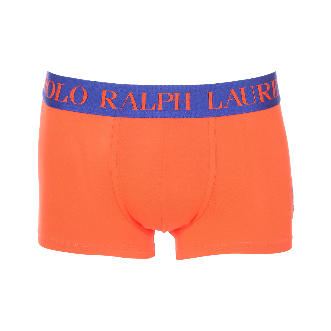Boxer  en coton stretch orange électrique à ceinture bleu roi