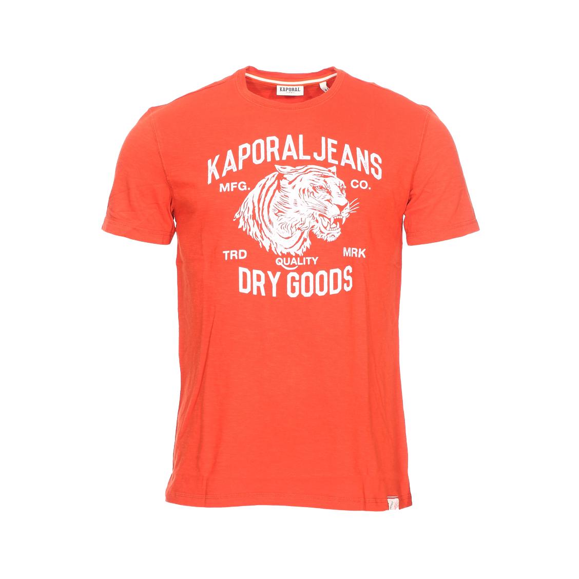 Tee-shirt col rond  pinto en coton flammé orange à flocage tigre blanc