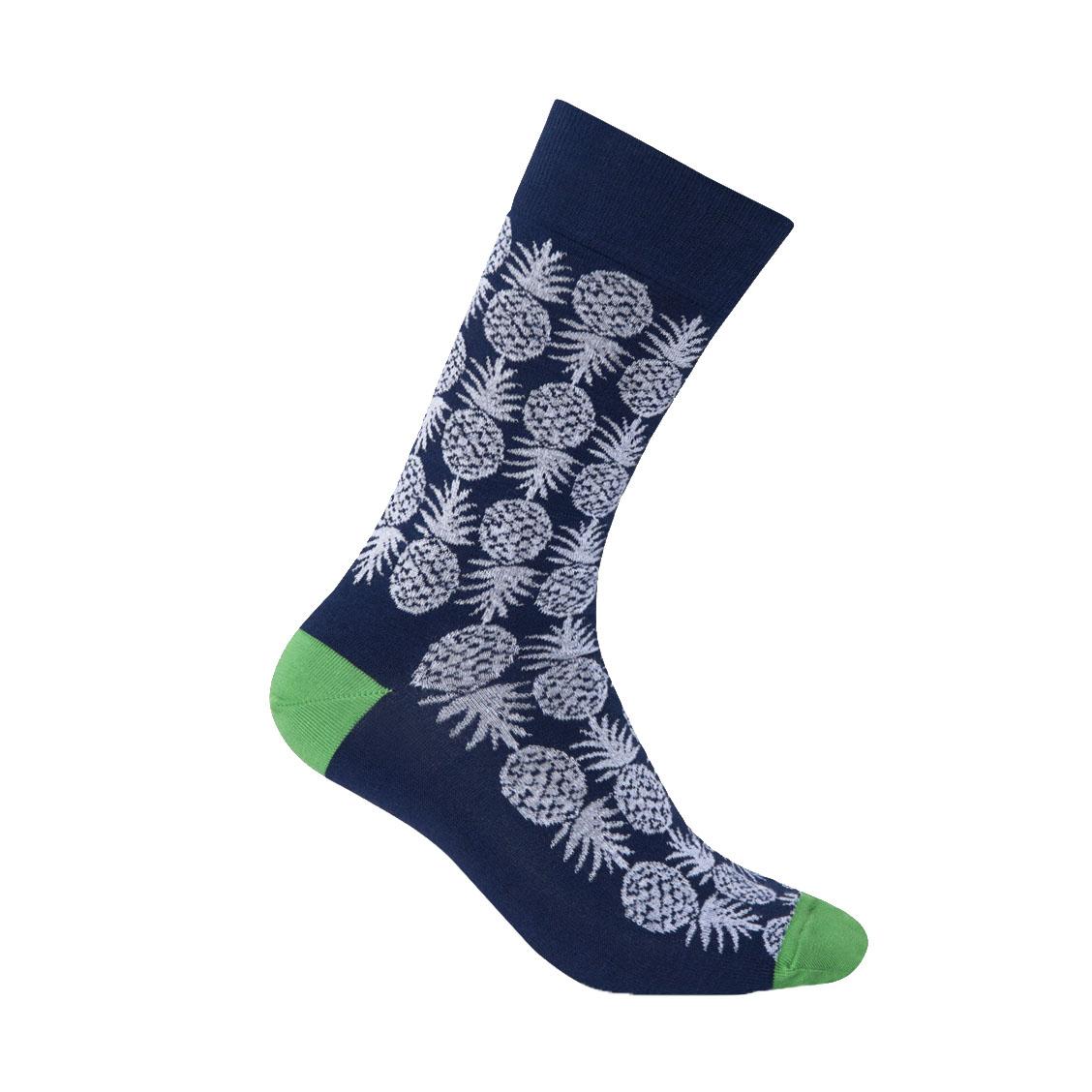 Chaussettes  en coton stretch bleu marine à motifs ananas blancs