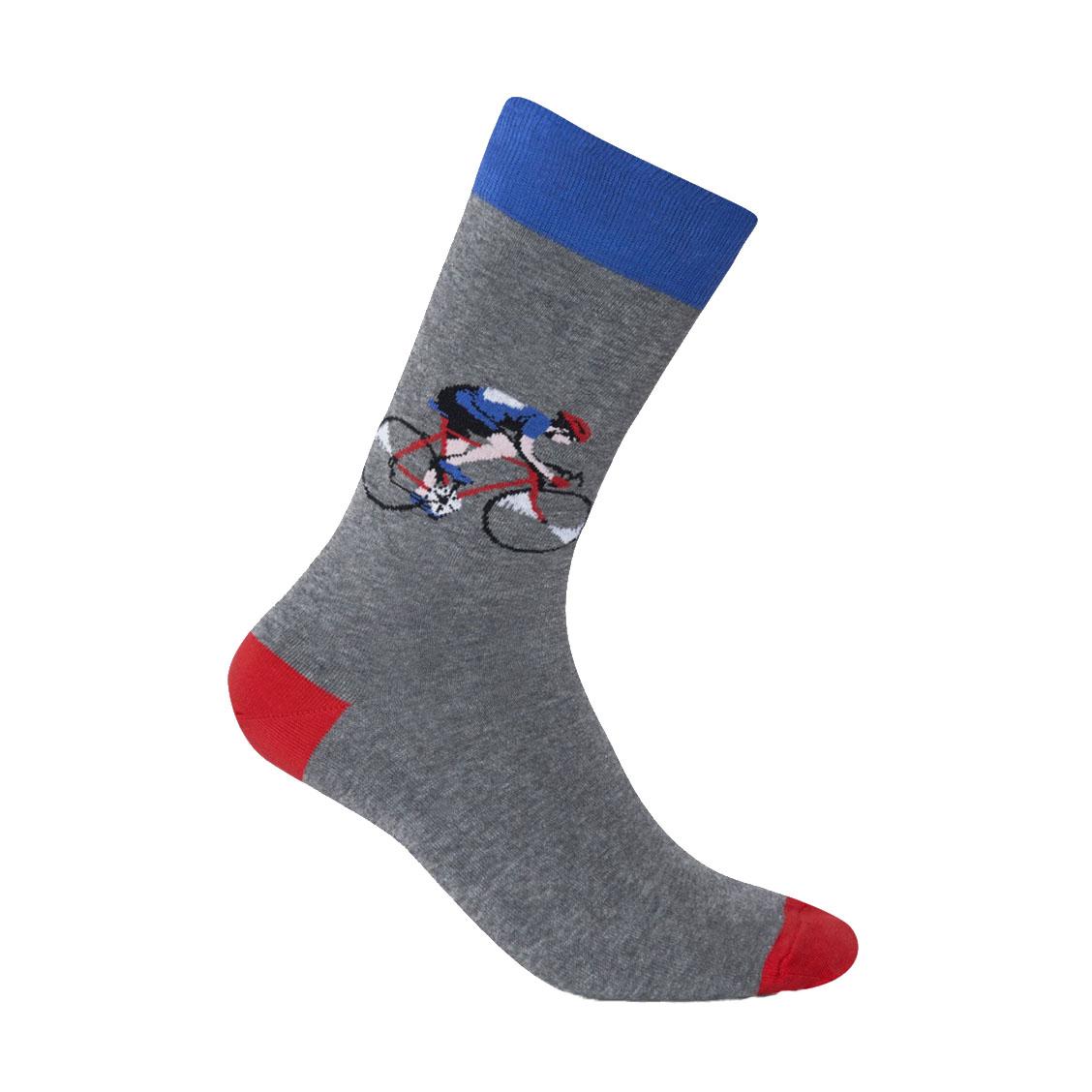Chaussettes  en coton stretch gris chiné à motifs cyclistes