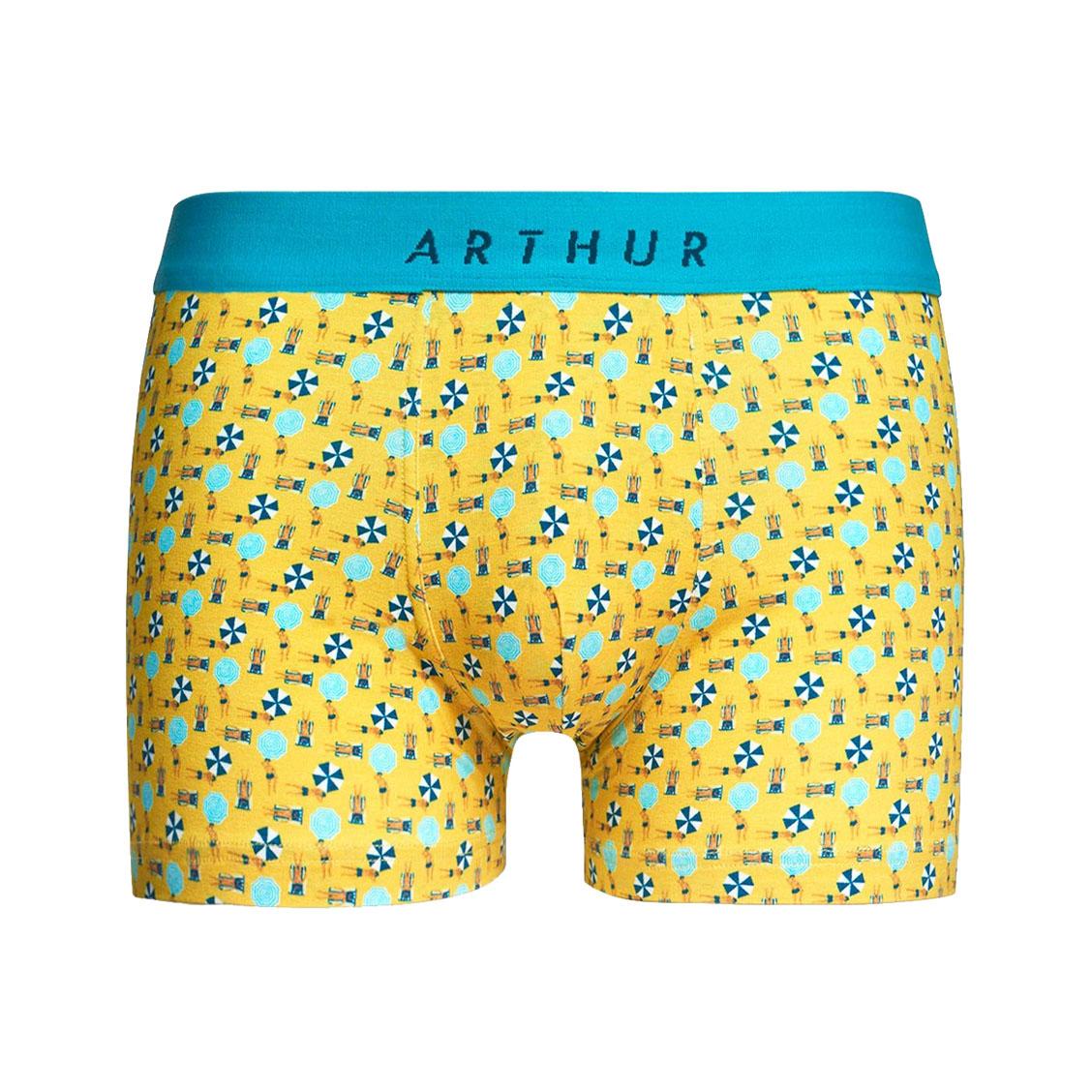 Boxer  en coton stretch jaune à motifs plage