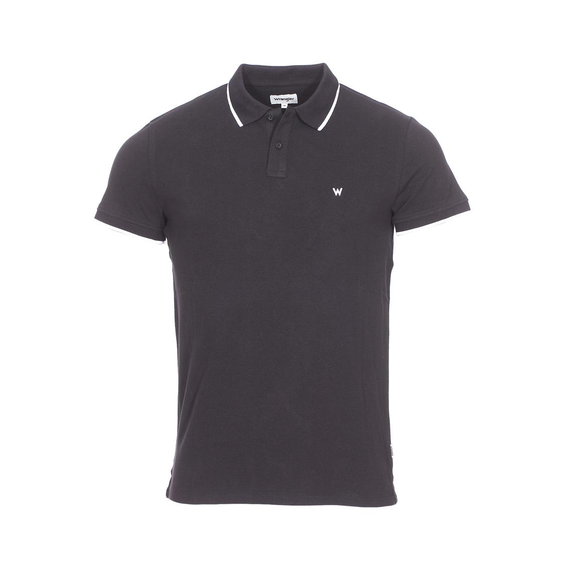 Polo  en piqué de coton noir à détails blancs