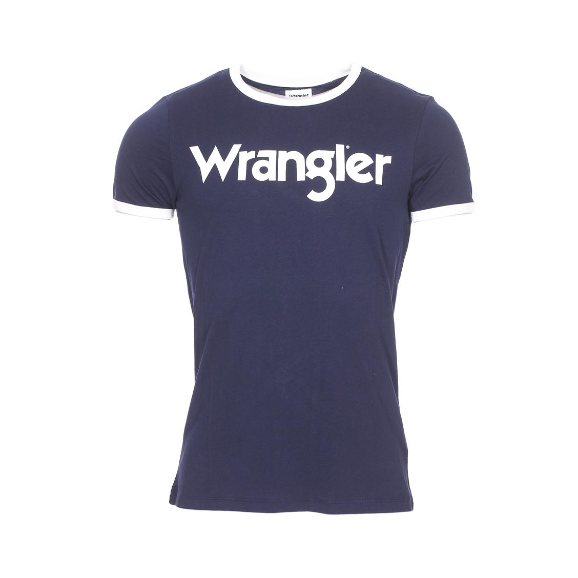 Tee-shirt col rond  kabel en coton bleu marine floqué en blanc