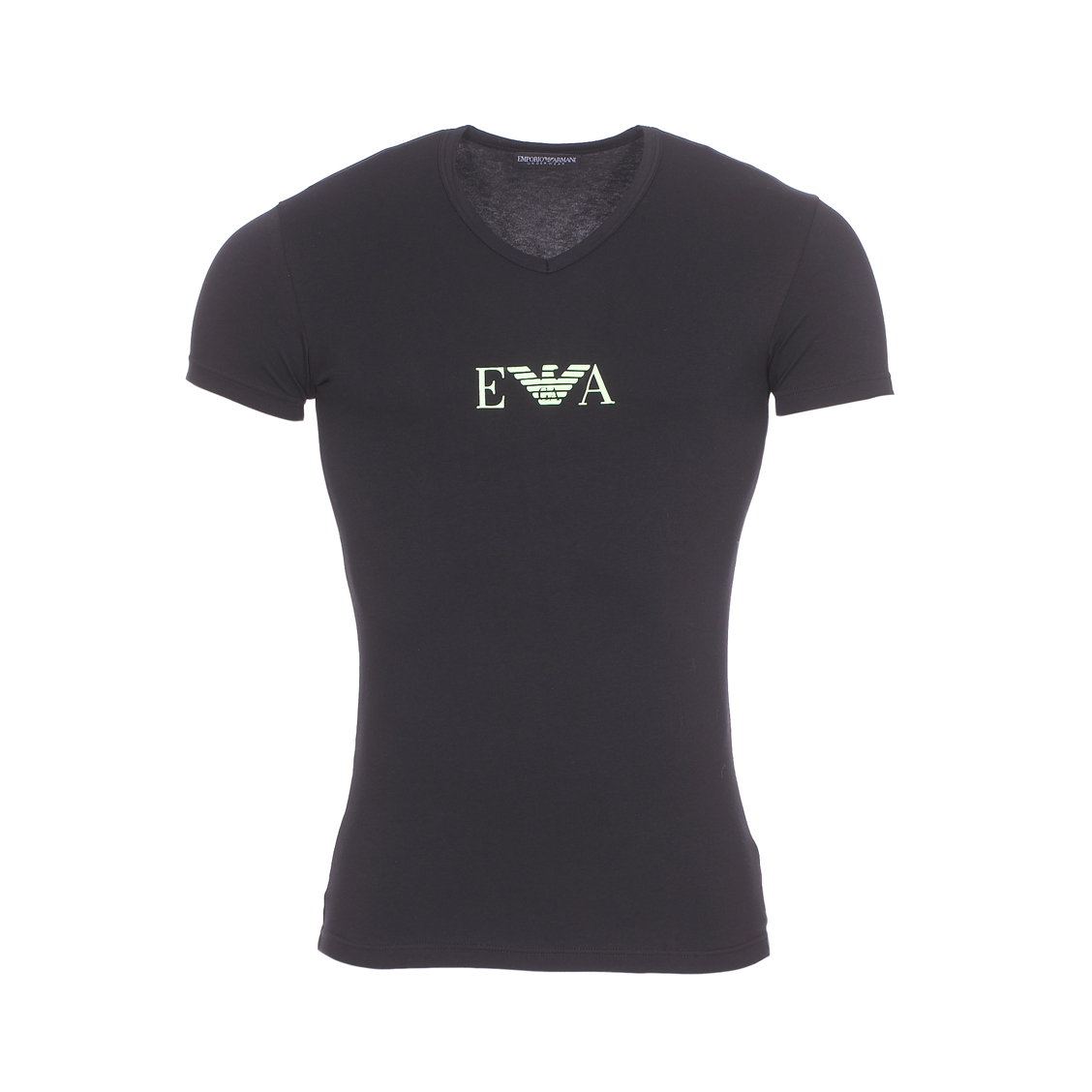 Tee-shirt col v  en coton stretch noir floqué vert fluo