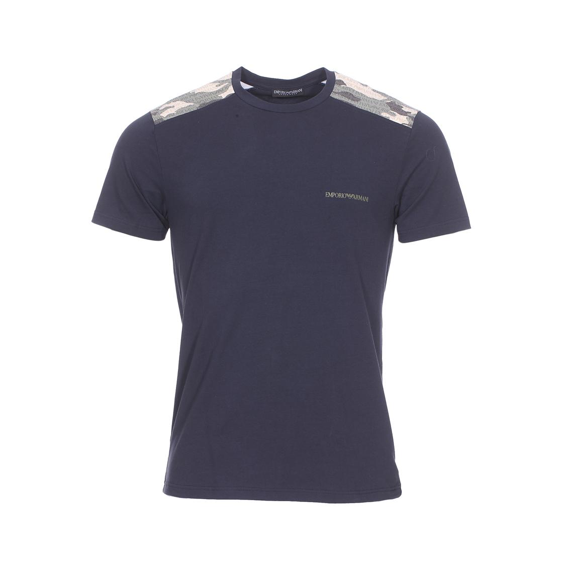 Tee-shirt col rond  en coton stretch bleu nuit à détails camouflage