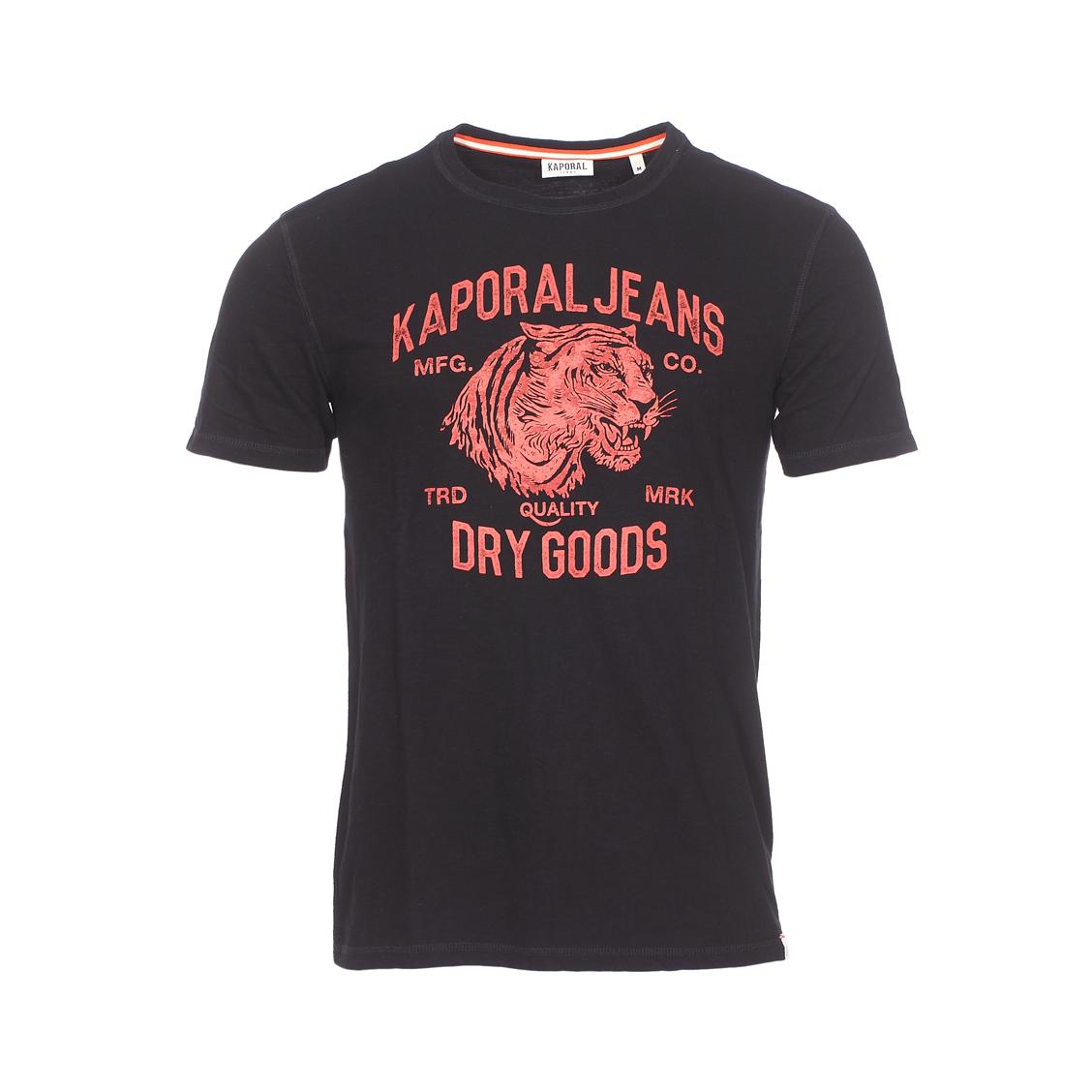 Tee-shirt col rond  pinto en coton flammé noir à flocage tigre rouge