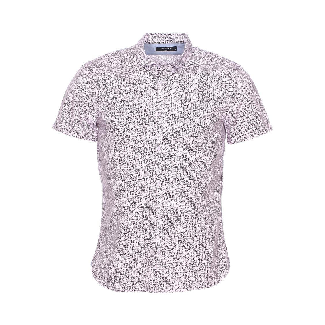 Chemise ajustée  carmon mc en coton mélangé blanc à motifs bleus et rouges