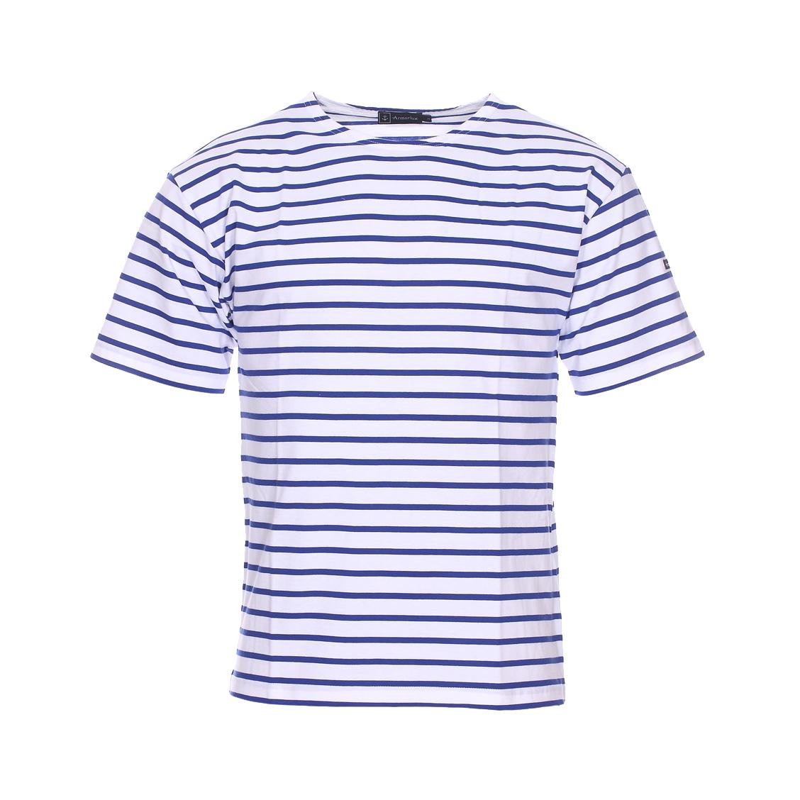 . - Coton (100%) - A rayures blanches et bleu indigo - Manches courtes - Col bateau