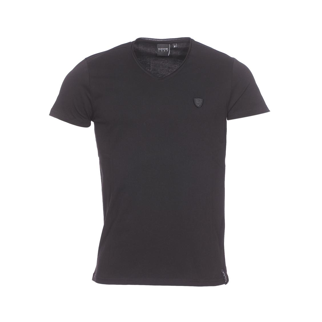 Tee-shirt col v  en coton noir
