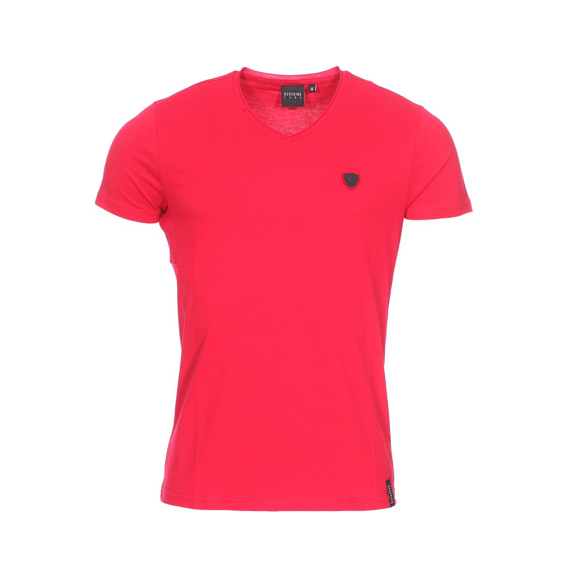 Tee-shirt col v  en coton rouge