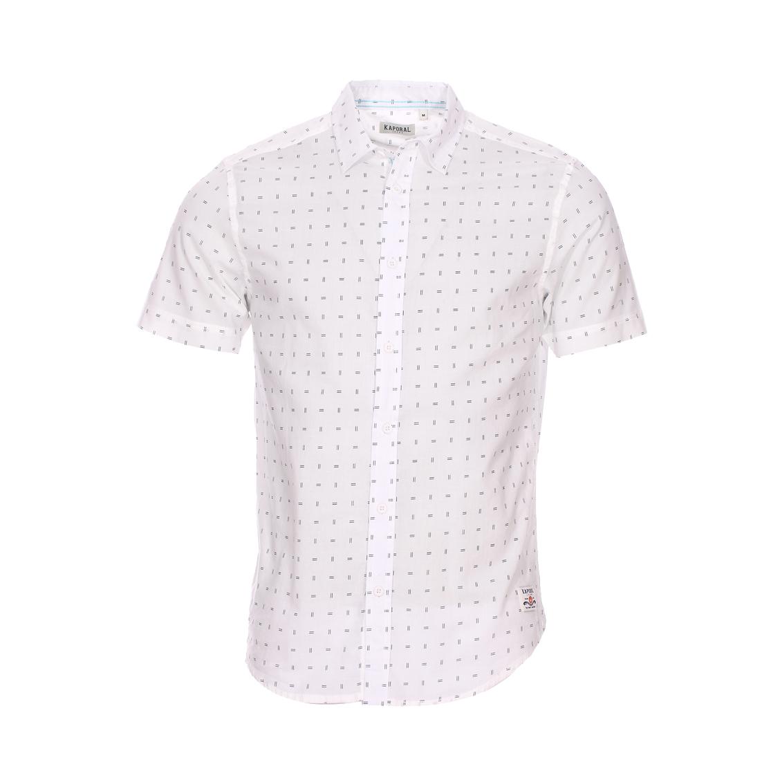 Chemise droite manches courtes  palm en coton blanc à motifs bleu marine