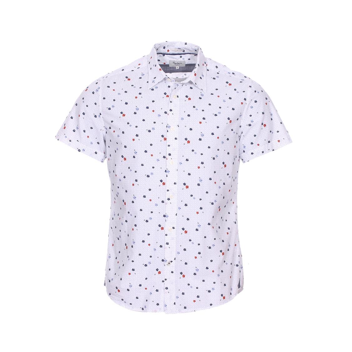 Chemise manches courtes cintrée  bryan en coton blanc à motifs bleus et rouges