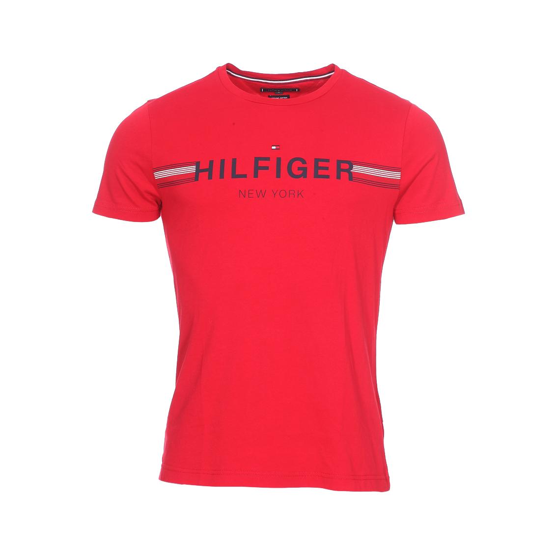 Tee-shirt col rond  corp flag en coton rouge floqué