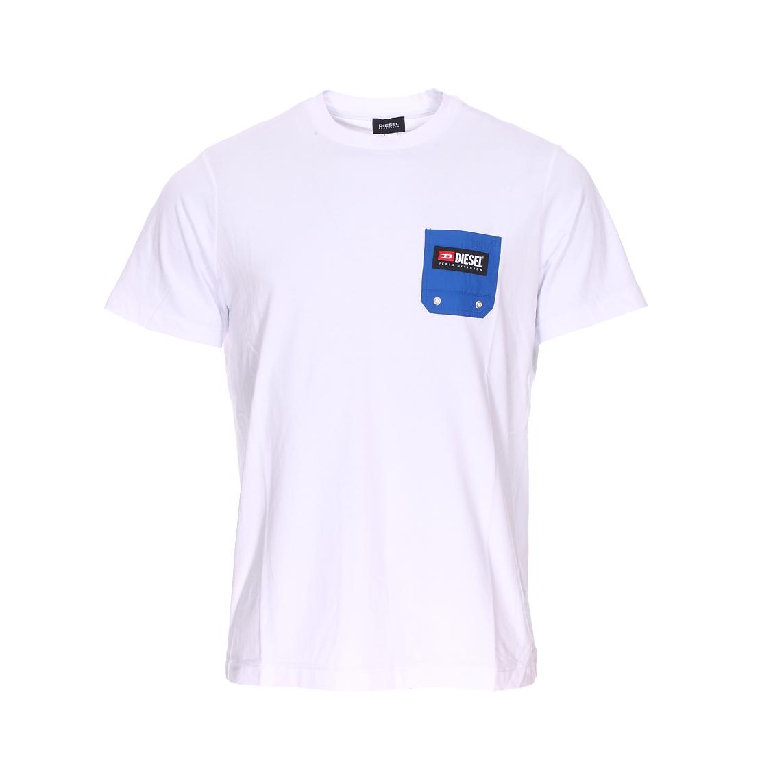 Tee-shirt col rond diesel just-b en coton blanc à poche poitrine