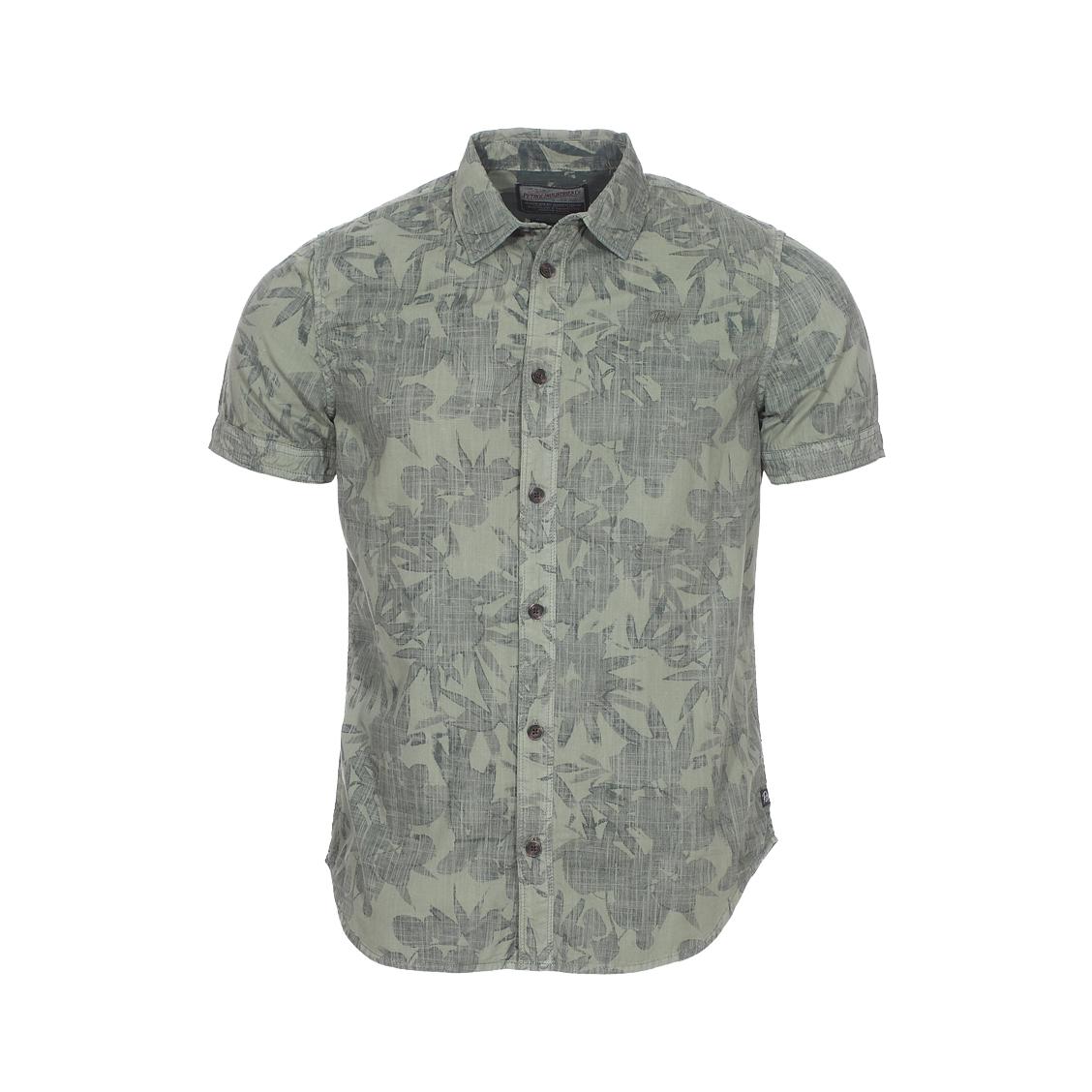 Chemise ajustée manches courtes petrol industrie en coton vert kaki à motifs feuilles