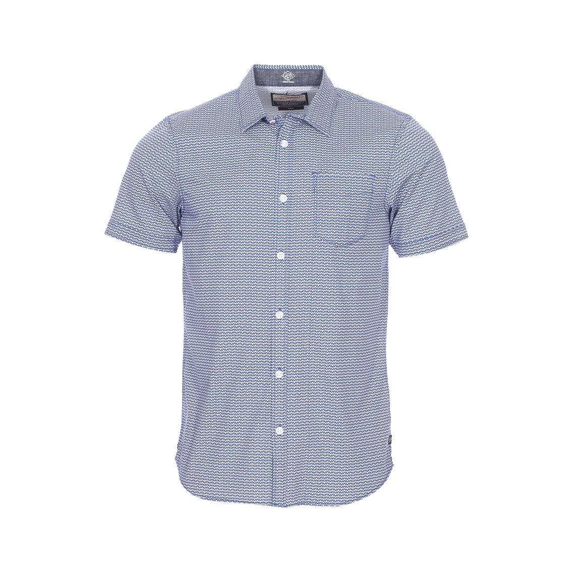 Chemise cintrée manches courtes petrol industrie en coton stretch à motifs bleus blancs et rouges