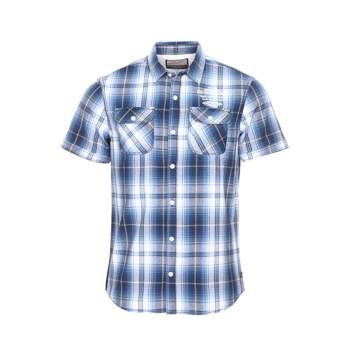 Chemise droite manches courtes petrol industrie en coton blanc et bleu à carreaux