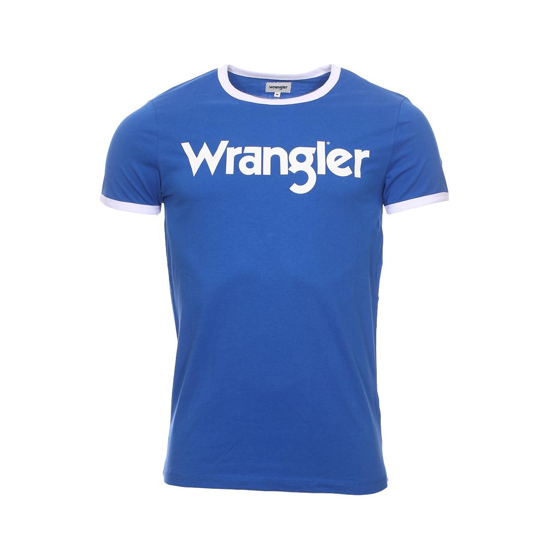 Tee-shirt col rond  en coton bleu floqué blanc