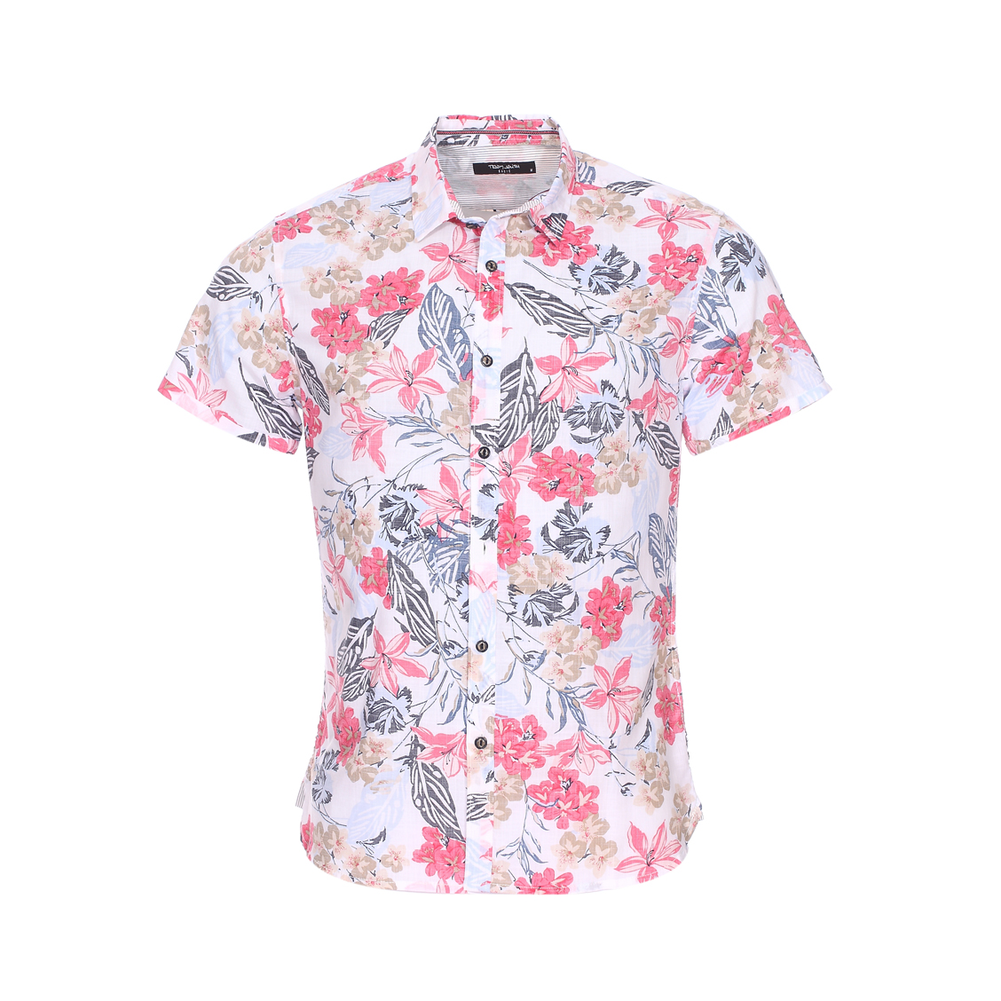 Chemise manches courtes ajustée  en coton léger blanc à fleurs