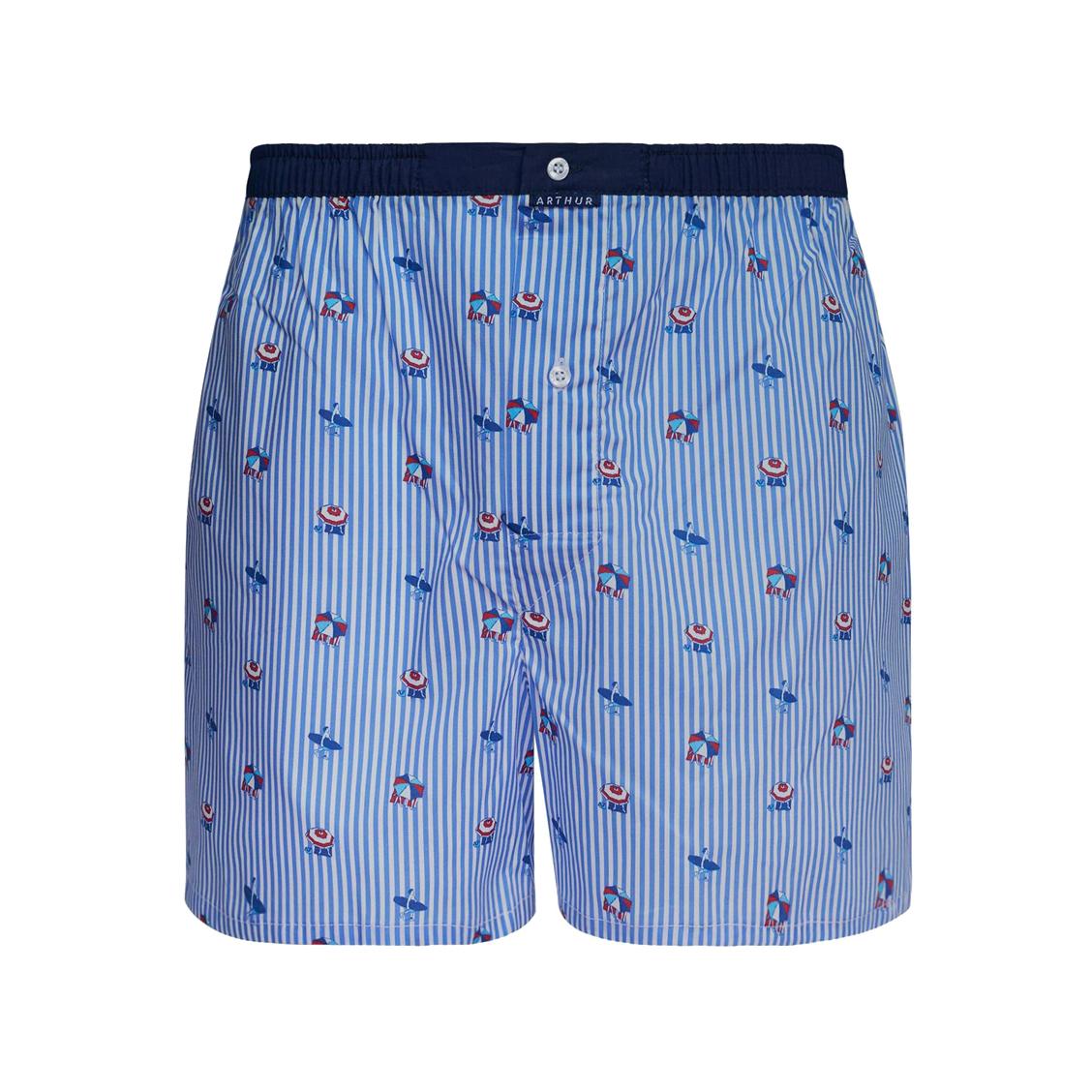 Caleçon coupe française  riviera en coton stretch à rayures blanches et bleues et motifs parasols et surfs