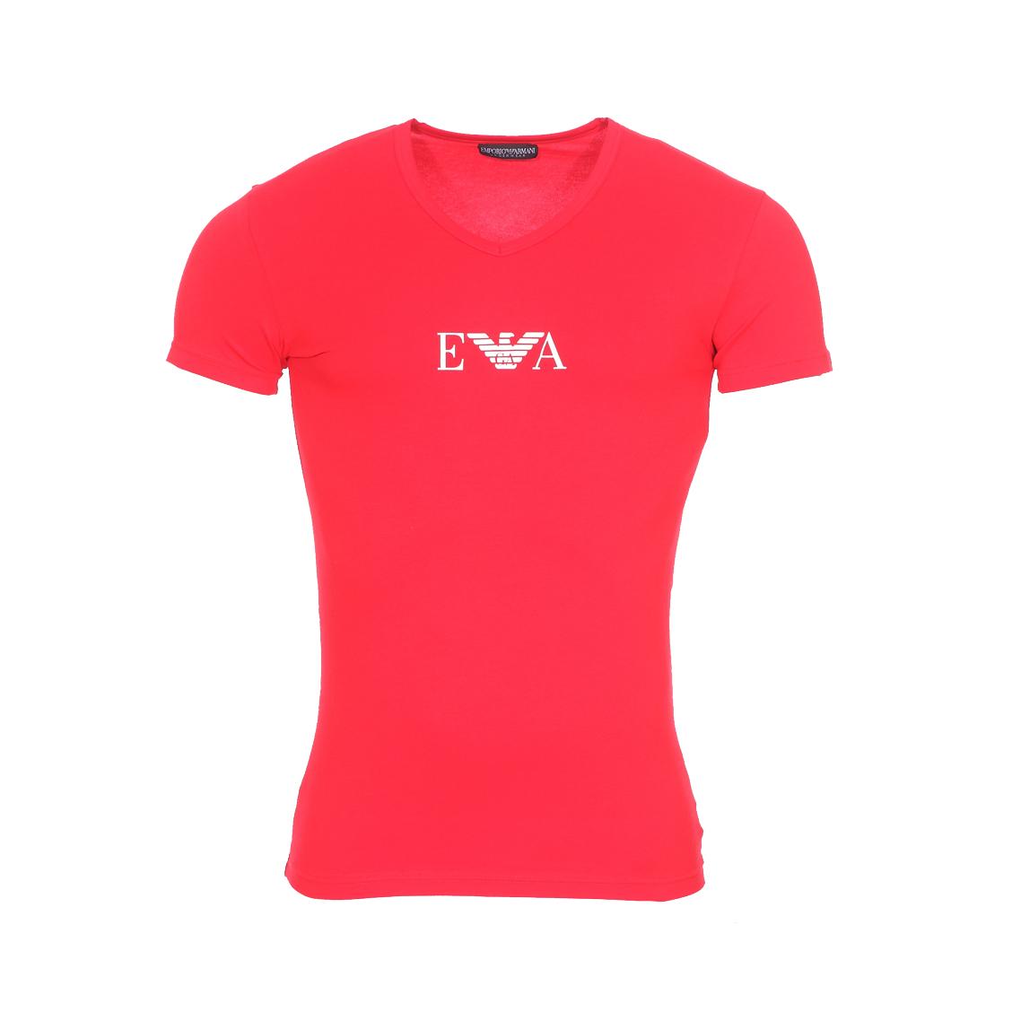Tee-shirt col v  en coton stretch rouge floqué en blanc
