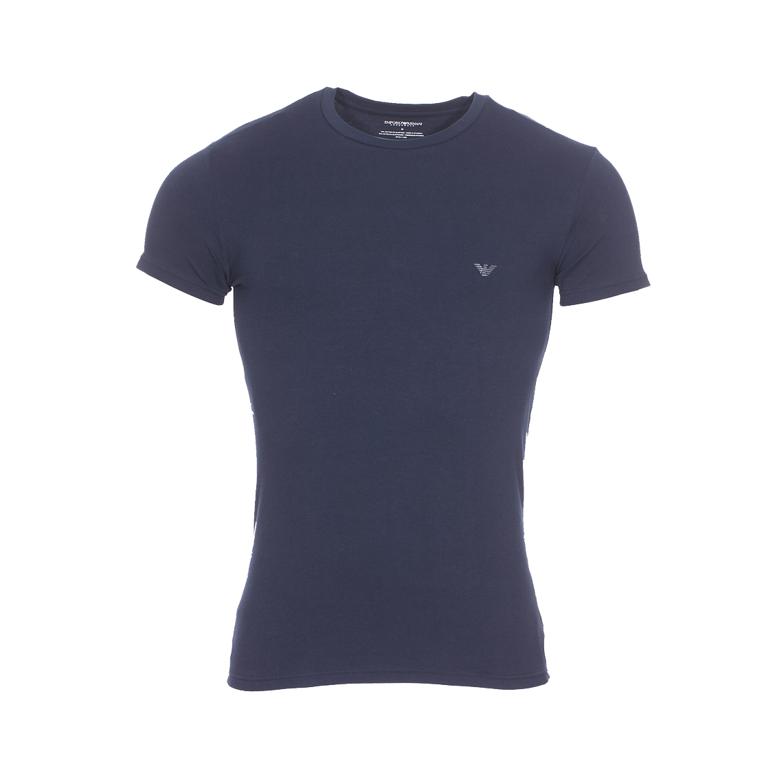 Tee-shirt col rond  en coton stretch bleu marine floqué en gris