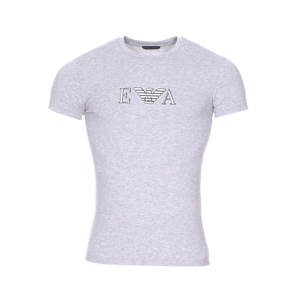 Tee-shirt col rond  en coton stretch gris chiné floqué en blanc et noir