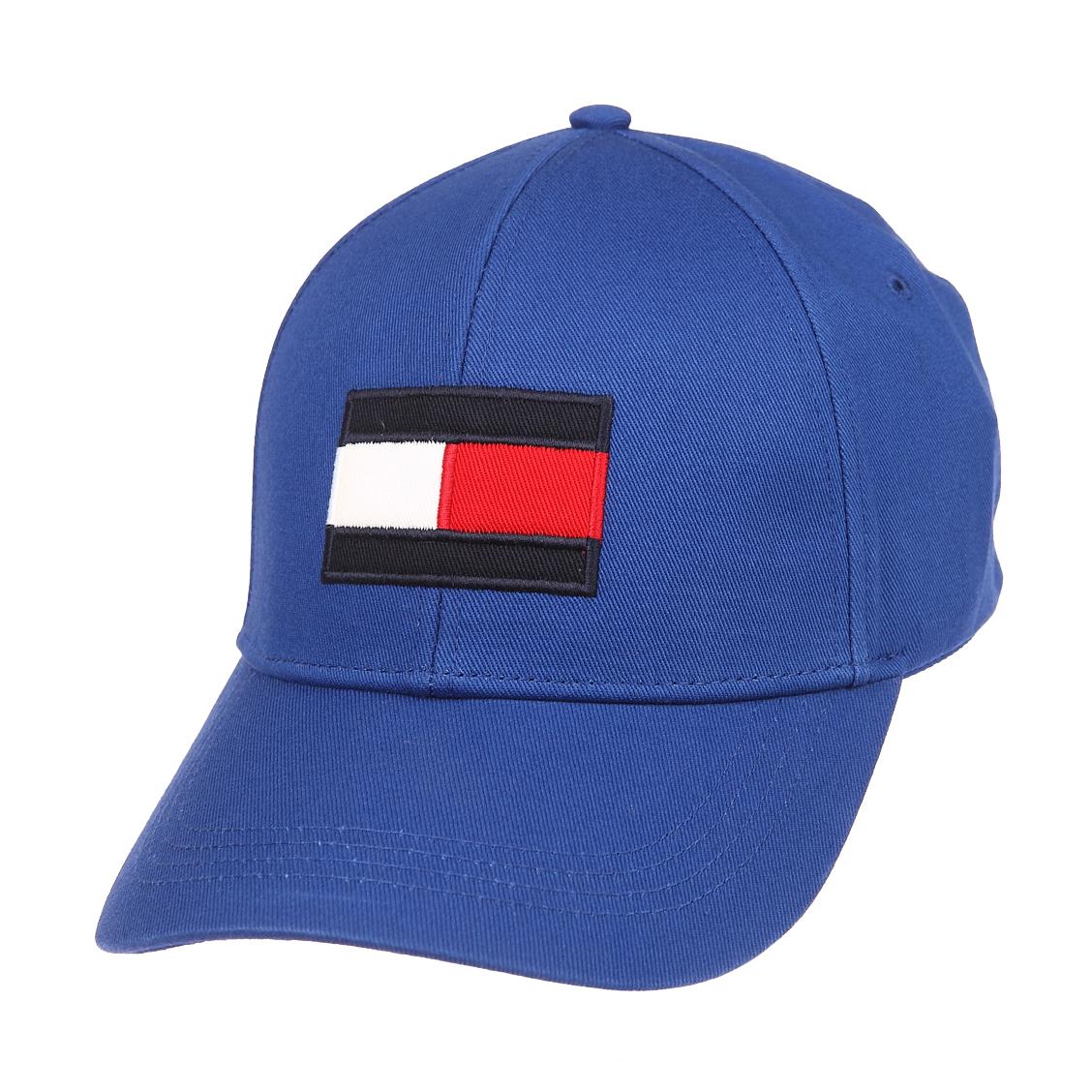 Casquette tommy hilfiger big flag en coton bleu pétrole brodé