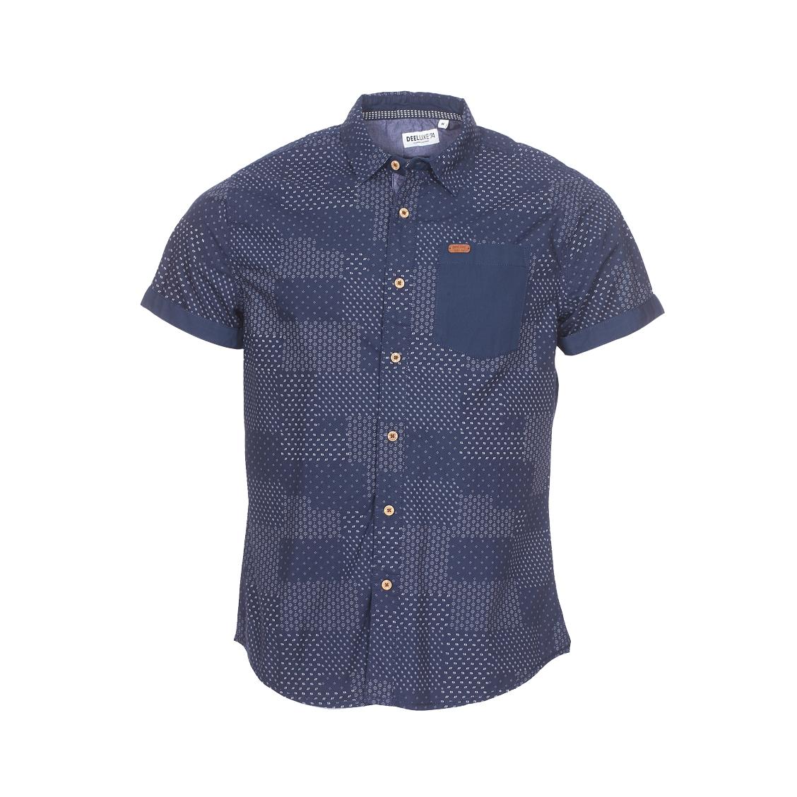 Chemise ajustée manches courtes  ethnic en coton bleu marine à motifs blancs