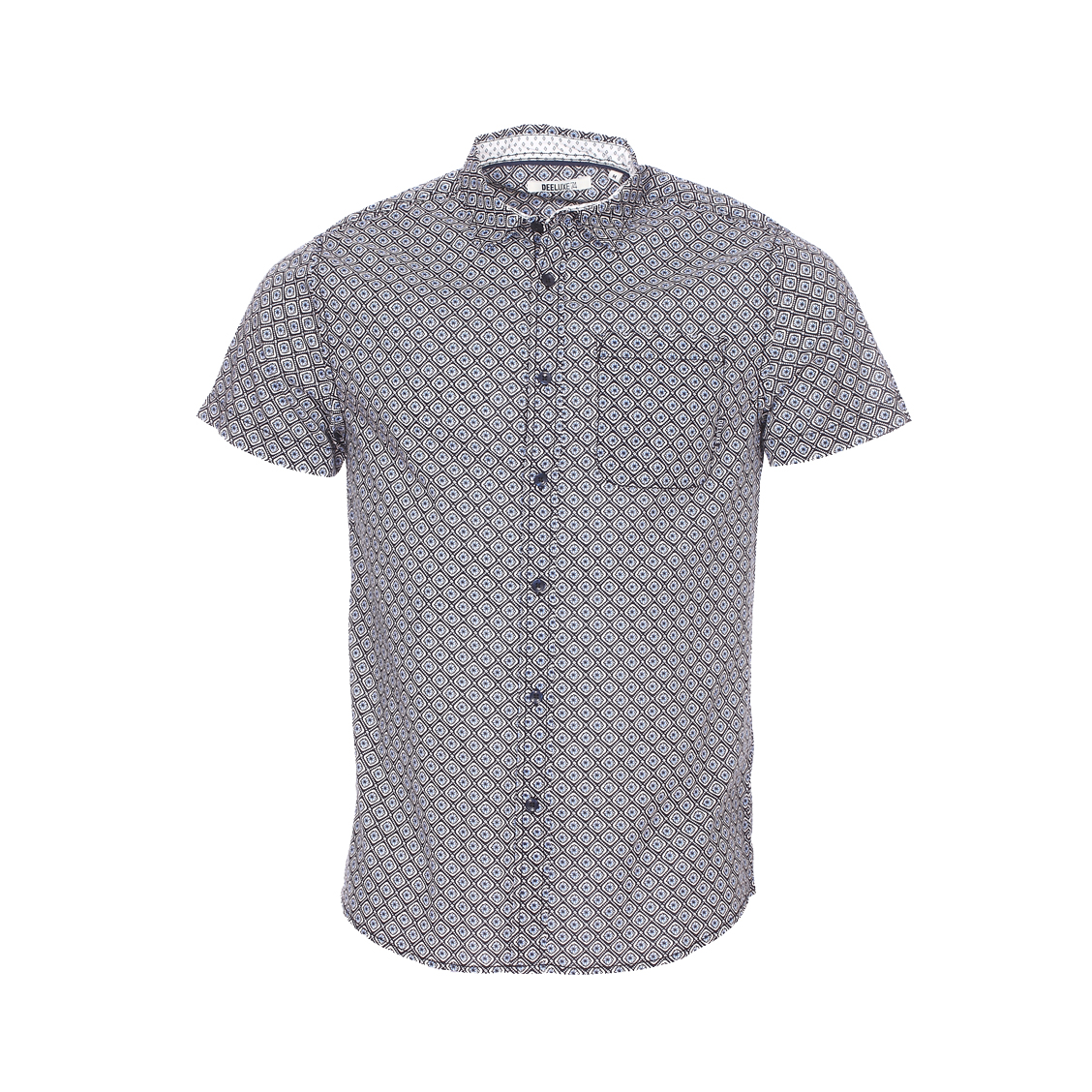 Chemise ajustée manches courtes  carillo en coton léger noir à motifs blancs et bleu ciel
