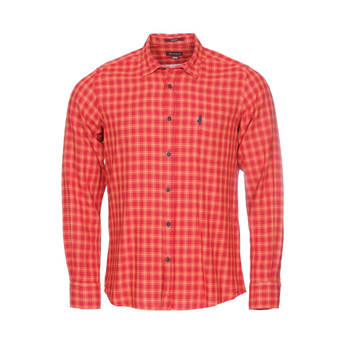 Chemise ajustée MCS en coton rouge à carreaux