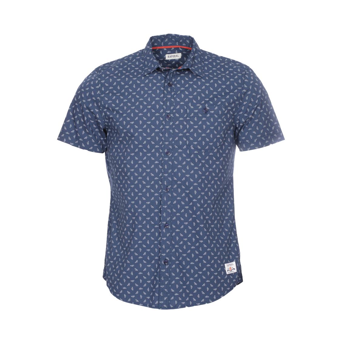 Chemise ajustée manches courtes  pan en coton bleu marine à imprimés pistolets blancs