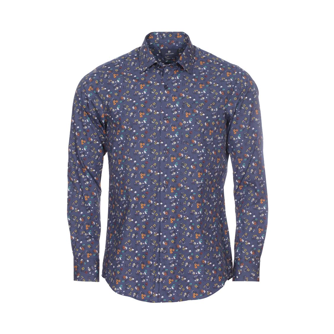 Chemise ajustée  en coton bleu marine à imprimés floraux multicolores