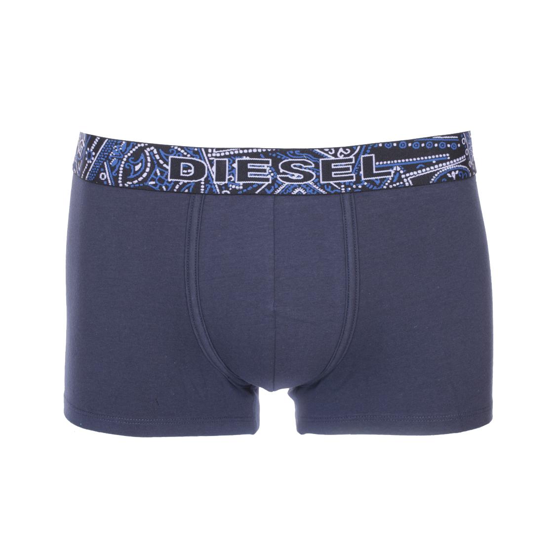 Boxer diesel instant looks en coton stretch bleu marine à ceinture à motifs fantaisie blancs et bleus