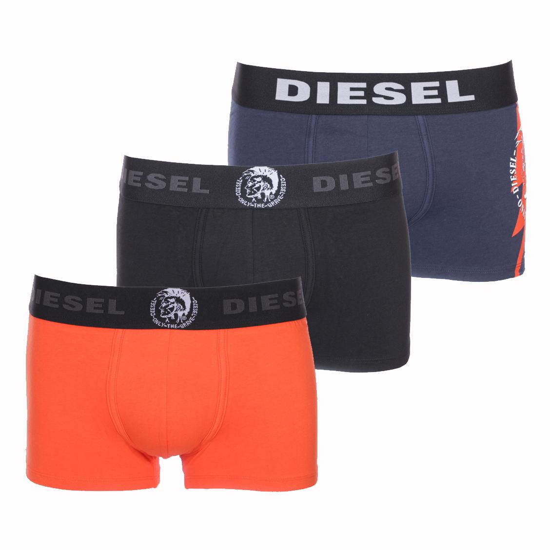 Lot de 3 boxers diesel damien en coton stretch orange, noir et bleu marine à logo éclair