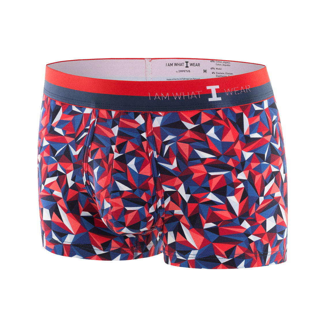Boxer I am What I Wear en modal stretch à imprimé graphique rouge, bleu et blanc