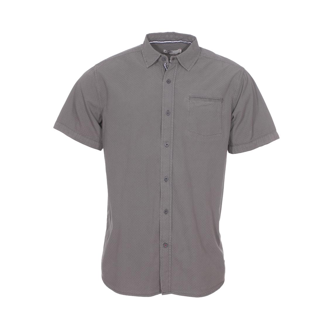 Chemise droite manches courtes Lee Cooper Dodge en coton gris à détails graphiques ton sur ton