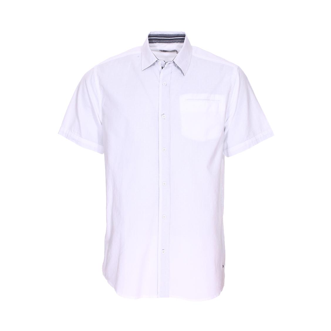 Chemise droite manches courtes  dodger en coton blanc à détails graphiques ton sur ton