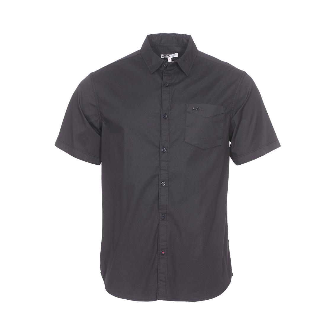Chemise ajustée manches courtes  dilon en coton stretch noir