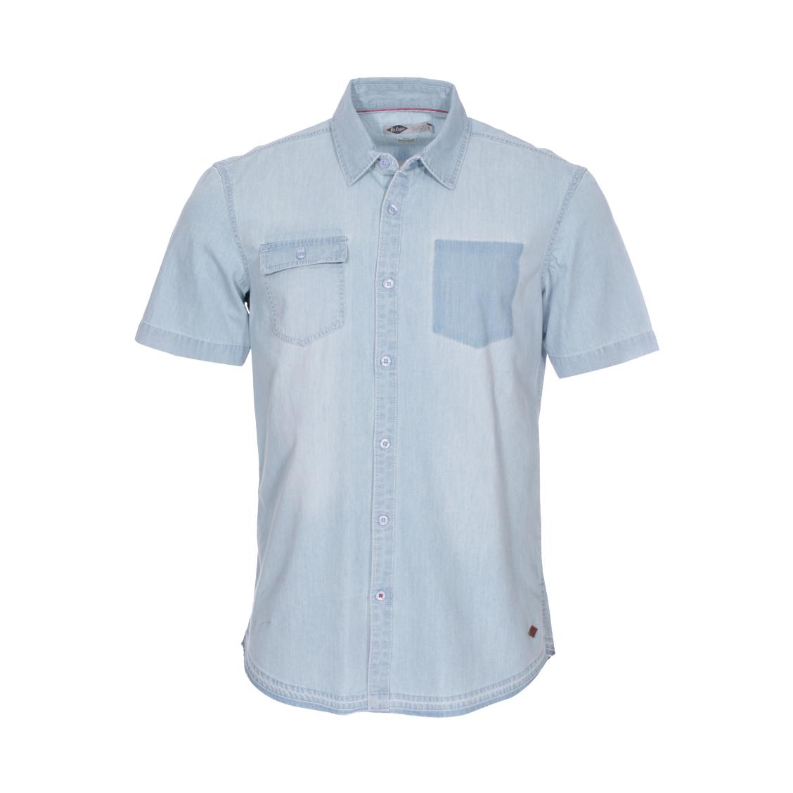 Chemise droite manches courtes Lee Cooper Doug en coton bleu denim