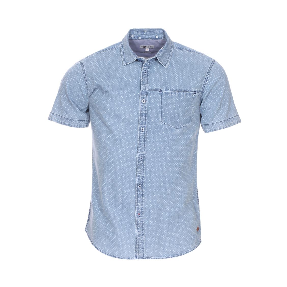 Chemise cintrée manches courtes Lee Cooper Dari en coton bleu denim à pois blancs