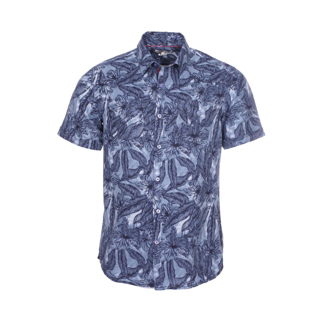 Chemise ajustée manches courtes Lee Cooper Dany en coton et lin bleus à imprimés tropicaux bleu marine