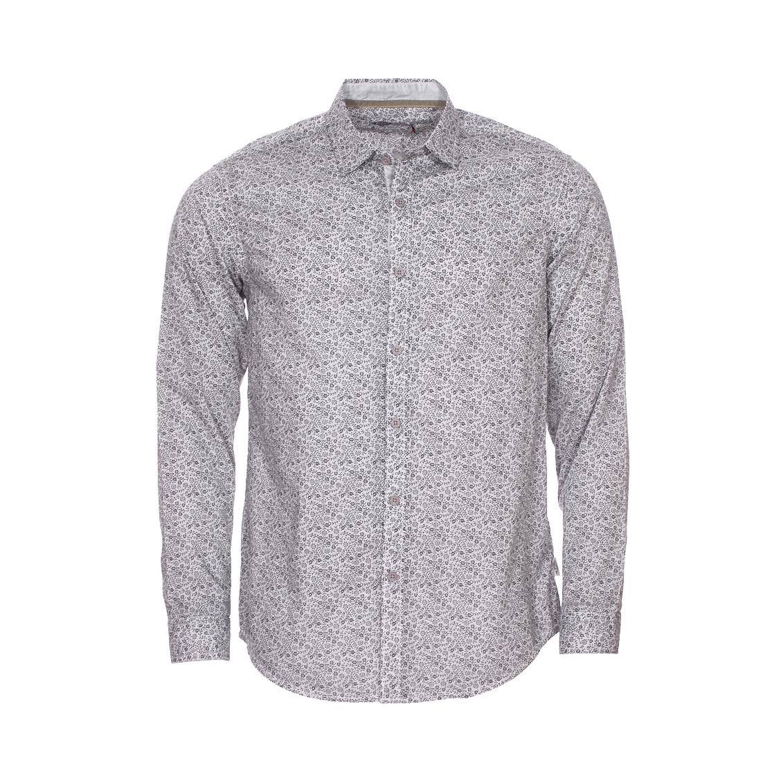 Chemise ajustée Lee Cooper Darko en coton léger blanc à motifs floraux gris